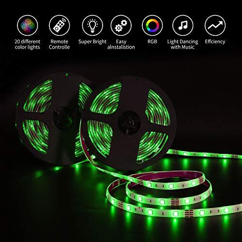 Halloween Bande LED Lumineuse Multicolore avec Télécommande à 44 Touches et Bloc D'alimentation