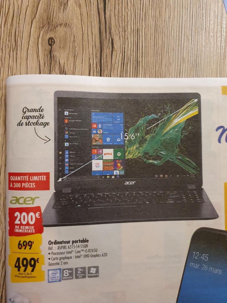Casque audio PC Transportable 15.6″ Acer Aspire 3 A315-54-55QN – HD, i5-8265U, 8 Stride RAM, 2 To HDD, Home windows 10