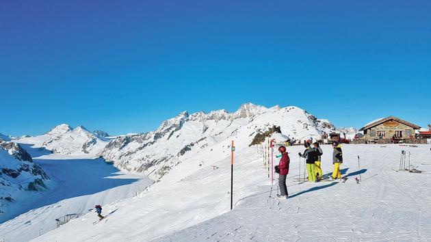 Ski Aletsch Area: plein la vuesur le plus mountainous glacier des Alpes