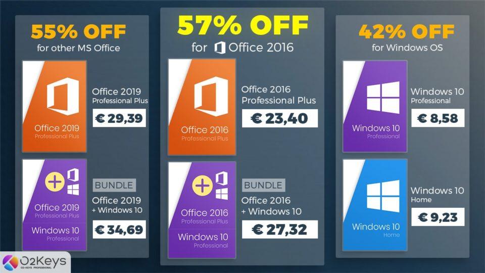Bureau Offre d'été 2020 : économisez jusqu'à 57% sur Windows 10 et Microsoft Location of enterprise 2016 !