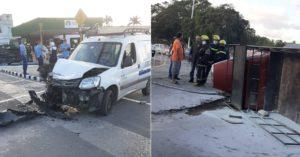 Maillot de bain Una camioneta termina volcada en La Habana tras chocar con un carro de ETECSA