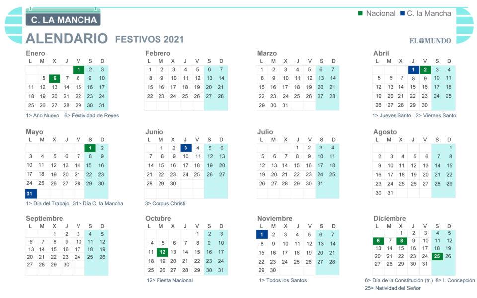 Maillot de bain Calendario laboral Castilla – La Mancha 2021: días festivos y puentes