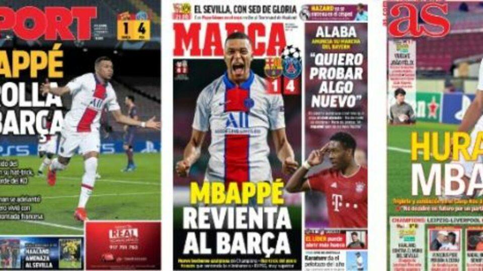 Maillot de bain «Il a mangé Messi» : la presse espagnole couronne Mbappé après Barça-PSG
