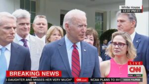 Maillot de bain Biden strikes infrastructure contend with bipartisan neighborhood of senators