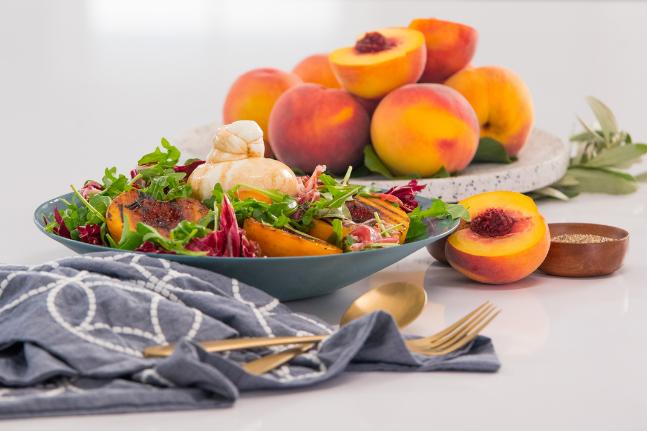 Maillot de bain Grilled Peaches with Burrata & Balsamic Vinegar Recipe